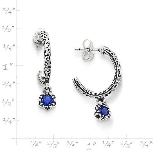 View Larger Image of Cherished Birthstone Hoop Ear Posts with Lab Created Blue Sapphire