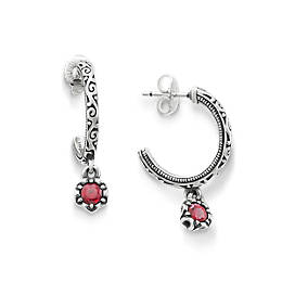 Cherished Birthstone Hoop Ear Posts with Lab Created Ruby