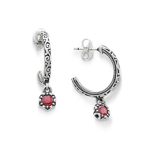 View Larger Image of Cherished Birthstone Hoop Ear Posts with Lab Created Ruby