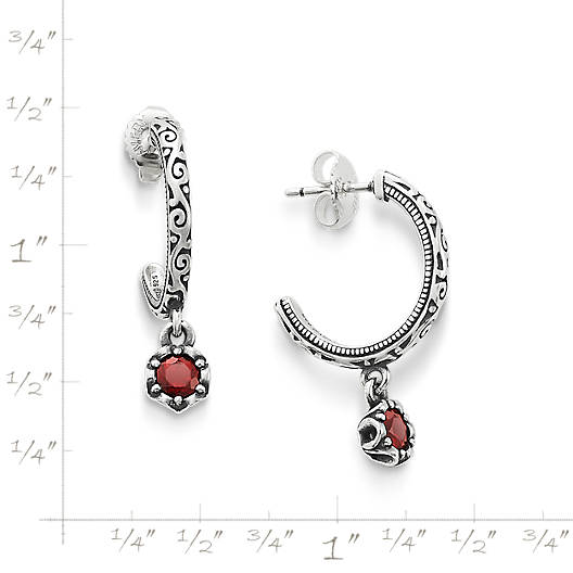 View Larger Image of Cherished Birthstone Hoop Ear Posts with Garnet