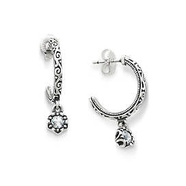 Cherished Birthstone Hoop Ear Posts with Lab Created White Sapphire