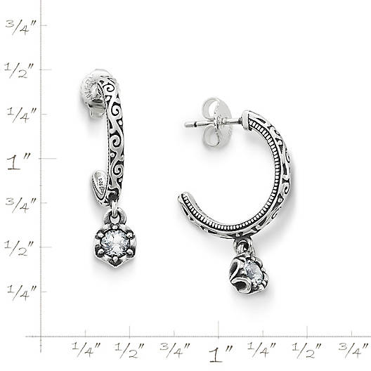 View Larger Image of Cherished Birthstone Hoop Ear Posts with Lab Created White Sapphire