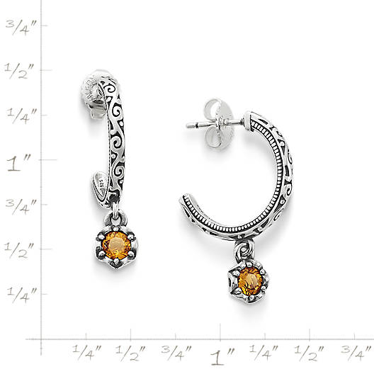 View Larger Image of Cherished Birthstone Hoop Ear Posts with Citrine