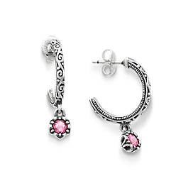 Cherished Birthstone Hoop Ear Posts with Lab Created Pink Sapphire