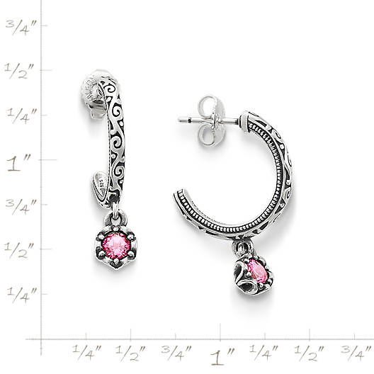 View Larger Image of Cherished Birthstone Hoop Ear Posts with Lab Created Pink Sapphire