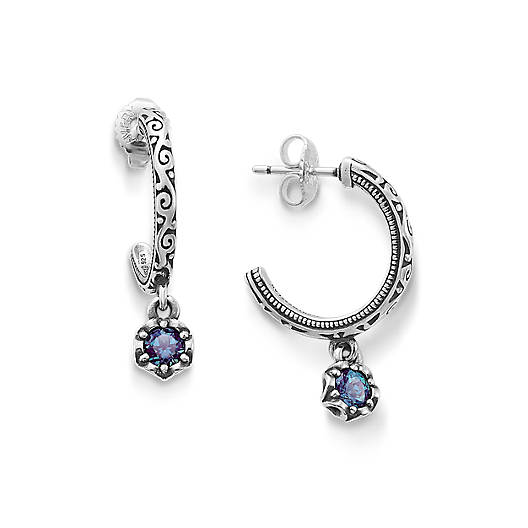 View Larger Image of Cherished Birthstone Hoop Ear Posts with Lab Created Alexandrite