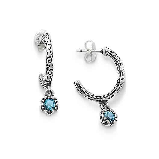 View Larger Image of Cherished Birthstone Hoop Ear Posts with Blue Topaz