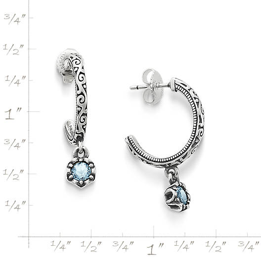 View Larger Image of Cherished Birthstone Hoop Ear Posts with Lab Created Aqua Spinel