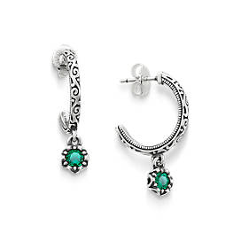 Cherished Birthstone Hoop Ear Posts with Lab Created Emerald