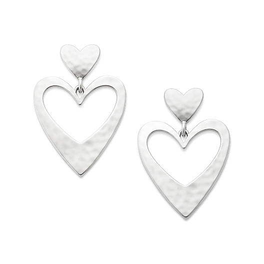 View Larger Image of Hammered Double Heart Ear Posts