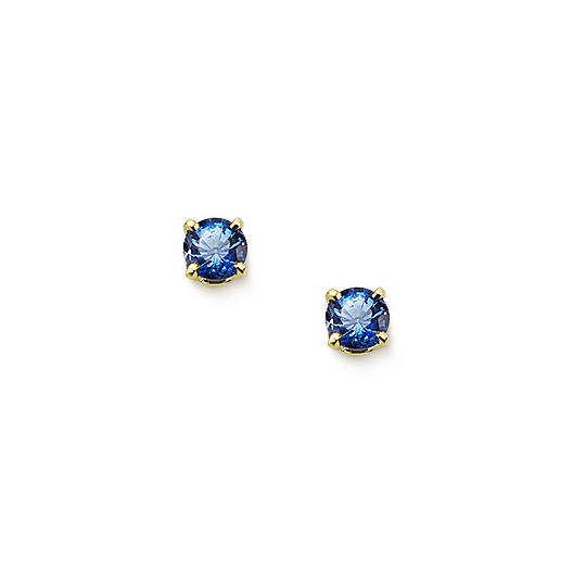 View Larger Image of Lab-Created Blue Sapphire Gemstone Ear Posts
