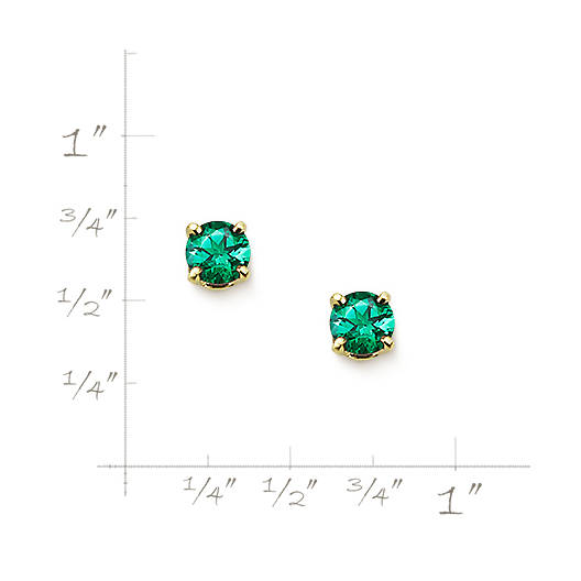 View Larger Image of Lab-Created Emerald Gemstone Ear Posts