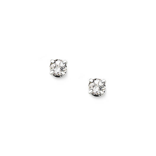 Lab-Created White Sapphire Gemstone Ear Posts