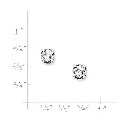 View Larger Image of Lab-Created White Sapphire Gemstone Ear Posts