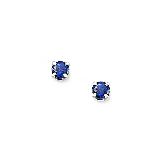 Lab-Created Blue Sapphire Gemstone Ear Posts