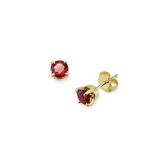 View Larger Image of Lab-Created Ruby Gemstone Ear Posts
