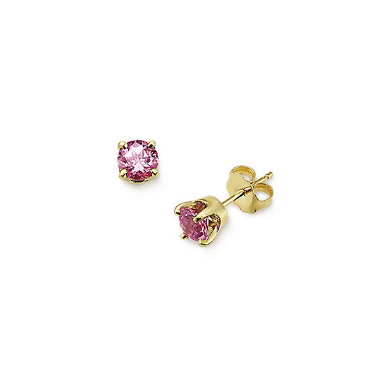 View Larger Image of Lab-Created Pink Sapphire Gemstone Ear Posts