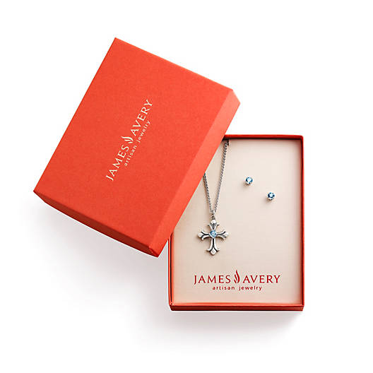 View Larger Image of Fleuree Cross with Blue Topaz Gift Set