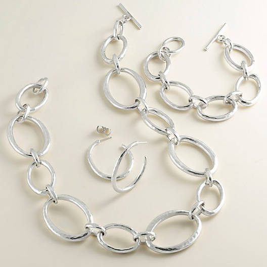 View Larger Image of Hammered Link Bracelet