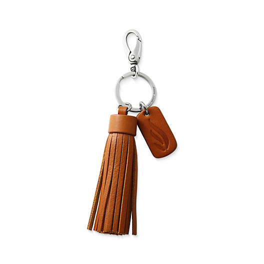 View Larger Image of Leather Logo Tassel Key Chain
