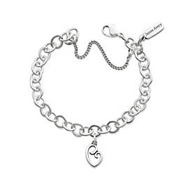 Delicate Mother's Love Charm on Forged Link Charm Bracelet