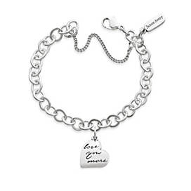 """""""Love You More"""" Charm on Forged Link Charm Bracelet"""
