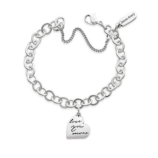 """View Larger Image of """"Love You More"""" Charm on Forged Link Charm Bracelet"""