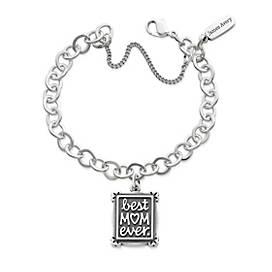 Best Mom Ever Charm on Forged Link Charm Bracelet