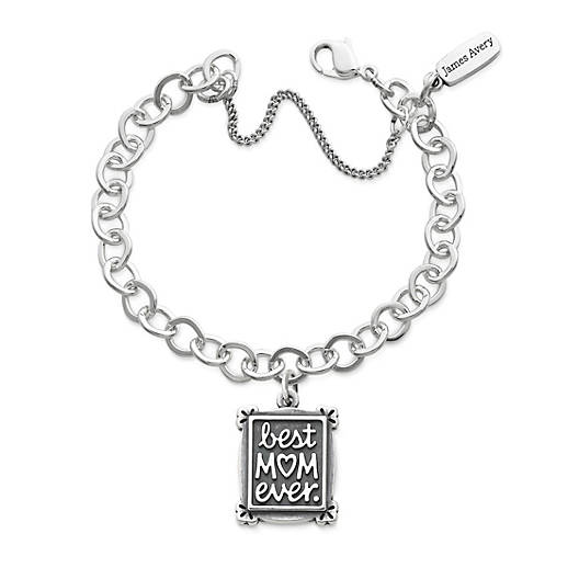 View Larger Image of Best Mom Ever Charm on Forged Link Charm Bracelet