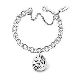 """""""To the Moon and Back"""" Charm on Forged Link Charm Bracelet"""
