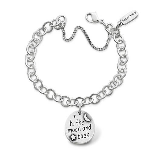 """View Larger Image of """"To the Moon and Back"""" Charm on Forged Link Charm Bracelet"""