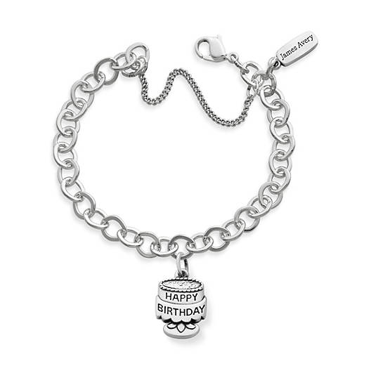 View Larger Image of Tiny Birthday Cake Charm on Forged Link Charm Bracelet