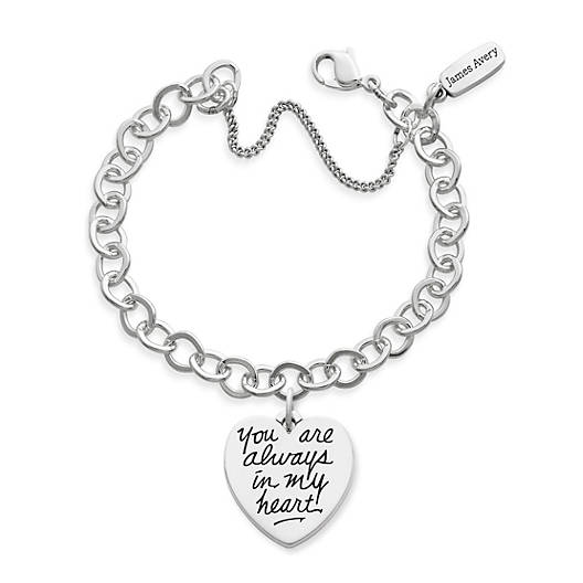 """View Larger Image of """"You Are Always in My Heart"""" Charm on Forged Link Charm Bracelet"""