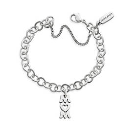 Love You Mom Charm on Forged Link Charm Bracelet