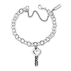 """The Key to """"Love"""" Pendant on Forged Link Charm Bracelet"""