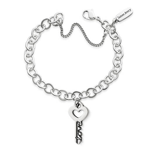 """View Larger Image of The Key to """"Love"""" Pendant on Forged Link Charm Bracelet"""