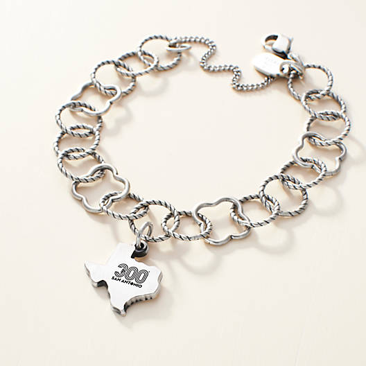 View Larger Image of Tricentennial Commemorative Small Texas Charm on Quatrefoil Twisted Wire Charm Bracelet