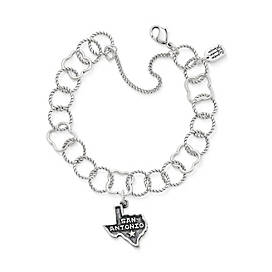 Tricentennial Commemorative San Antonio Charm on Quatrefoil Twisted Wire Charm Bracelet