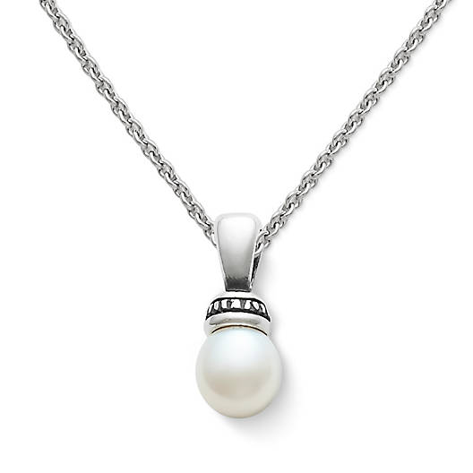View Larger Image of Beaded Pearl Pendant on Fine Cable Chain