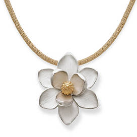 Magnolia Blossom Pendant on Gold Heavy Mesh Chain