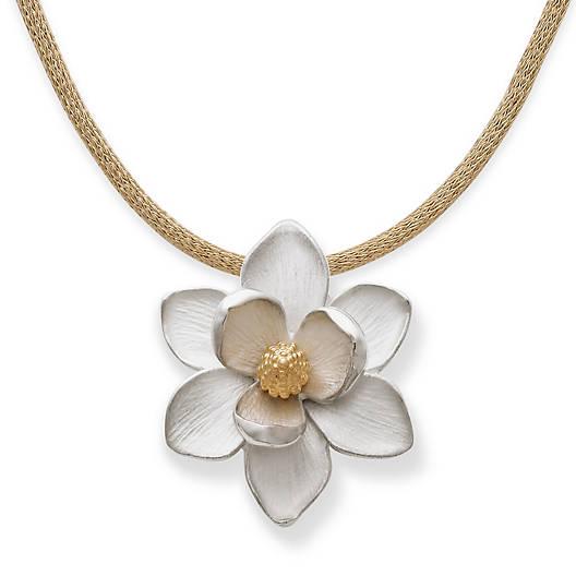 Magnolia Blossom Pendant on Gold Heavy Mesh Chain