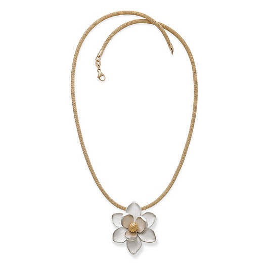 View Larger Image of Magnolia Blossom Pendant on Gold Heavy Mesh Chain