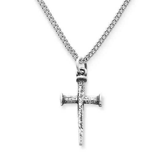 View Larger Image of Small Nail Cross on Medium Curb Chain