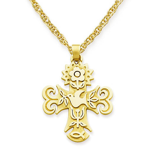 View Larger Image of Medium La Primavera Cross on Medium Rope Chain