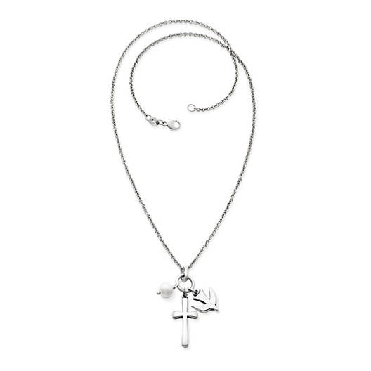 View Larger Image of Faithful Spirit Pendant with Cultured Pearl on Light Cable Chain