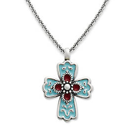 La Rosa Enamel Cross on Medium Cable Chain