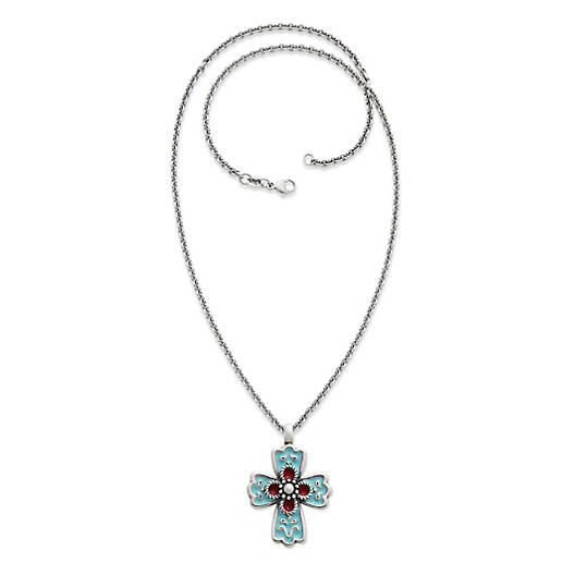 View Larger Image of Enamel La Rosa Cross on Medium Cable Chain