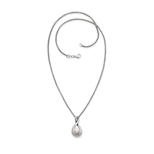 View Larger Image of Graceful Twist Pendant with Cultured Pearl on Light Spiga Chain