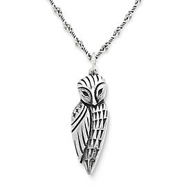 Wise Owl Pendant on Twisted Link Chain