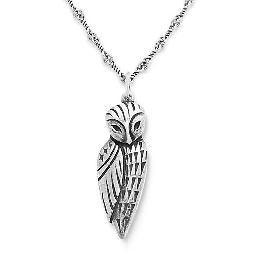 View Larger Image of Wise Owl Pendant on Twisted Link Chain